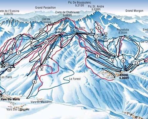 Vars Risoul mapa narciarska