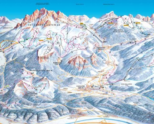 mapa narciarska Val di Fiemme Dolomity